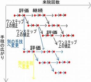 大和市の整体ダフィーカイロプラクティックの矯正の進め方模式図